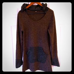 Brown and Grey Knit Hooded Sweater Tunic